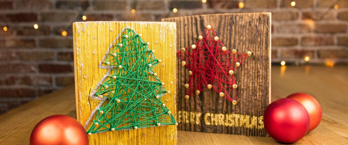 Crear tarjeta de Navidad de madera 1200x500