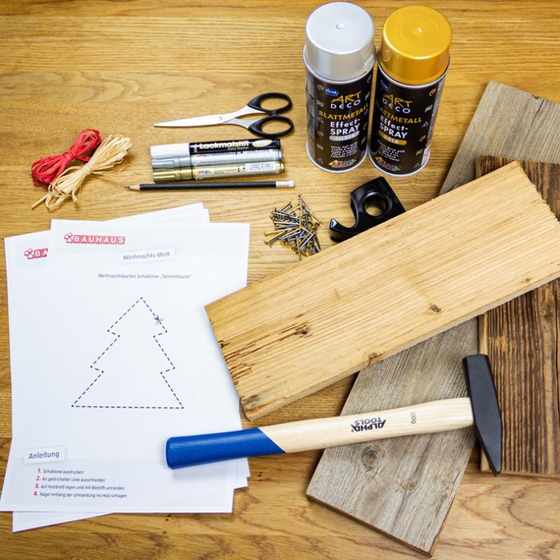 Crear tarjeta de Navidad de madera-Materiales