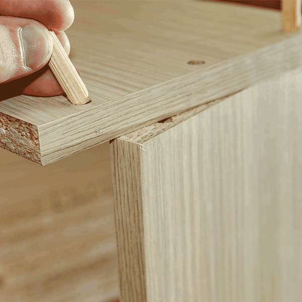 ensamblar madera tarugo